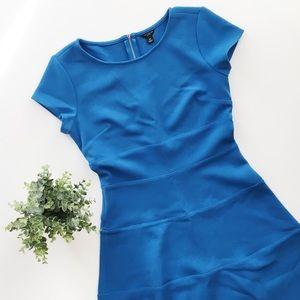 Ann Taylor Blue Fit & Flare Mini Dress